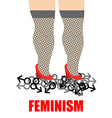 Feminism Womens feet trampling men sign for women vector image vector image