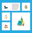 flat icon building set of architecture christian vector image vector image