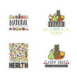 fruits and vegetables vegetarian banner set vector image vector image