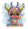 funny cute crazy monster characters greeting card vector image vector image
