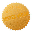 golden mister vegan badge stamp vector image