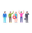 group happy men vector image