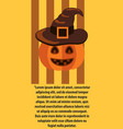 halloween poster with text pumpkin in witches hat vector image vector image