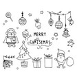 hand drawn of design christmas elements vector image