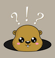 happy groundhog day greeting card with cute vector image