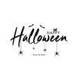 happy halloween text banner with bat spider and vector image vector image