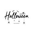 happy halloween text banner with bat spider vector image