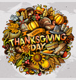 happy thanksgiving hand drawn cartoon doodles vector image vector image