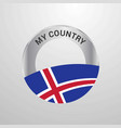 iceland my country flag badge vector image