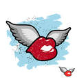 Kiss with wings flying lips Emblem grunge lovers vector image vector image