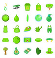 landscaping icons set cartoon style vector image vector image