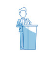 man in suit politician stands at tribune with vector image vector image