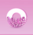 number zero with pink plant vector image vector image