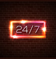 open time 24 7 hours neon light sign on brick wall vector image vector image