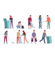 people collecting garbage men and women sorting vector image