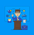 public speaking concept orator speaking from vector image