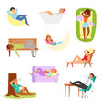relax people man woman character relaxing vector image