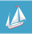 sail boat with white canvas sailing icon vector image vector image