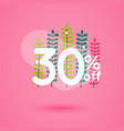 sale discount icons with leafs design special vector image vector image