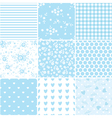 set abstract blue seamless patterns 2 vector image vector image