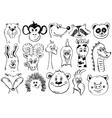 Set Of Funny Sketch Animal Face Icons vector image vector image