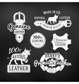 Set of leather quality goods designs vector image vector image