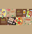 set of national dishes flat style banners vector image vector image