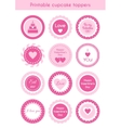 Set of printable cupcake toppers Valentines day vector image vector image