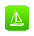 small boat icon digital green vector image vector image
