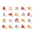 stylized human resource and business icons vector image