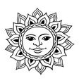 stylized sun with a womans face vector image vector image