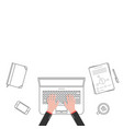 thin line business office workspace with hands vector image vector image