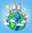 travel around world paper cut vector image vector image