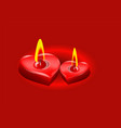 two candle in the form of heart vector image vector image