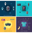 Wearable Technology 4 Flat Icons Square vector image