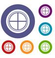 white round window icons set vector image vector image
