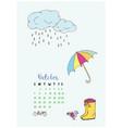 month calendar october 2018 umbrella and boots vector image