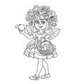 autumn fairy girl in a wreath viburnum and apple vector image vector image