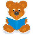 bear cub reading a book vector image vector image