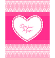beautiful pink background with lace and heart vector image