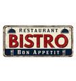 bistro vintage rusty metal sign vector image vector image