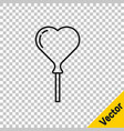 black line balloons in form heart with ribbon vector image vector image