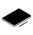 black spiral notebook isolated and fountain pen vector image