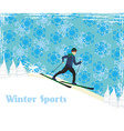 boy rides on skis in winter day vector image vector image