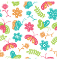 buterfly and flowers seamless pattern vector image vector image