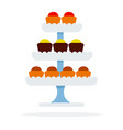 cakes on tiered platter flat isolated vector image vector image