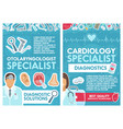 cardiology and otolaryngology doctors vector image vector image