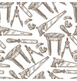 carpentry tools and instruments saw and table vector image vector image