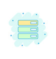 cartoon database server icon in comic style vector image