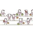 cartoon female people walking in street vector image